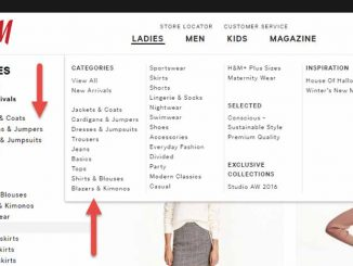 โครงสร้างเว็บไซต์ navigator เสื้อผ้าแฟชั่น