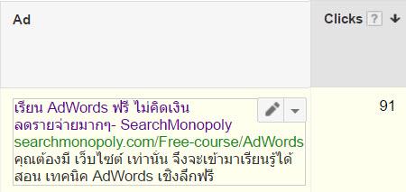 ตัวอย่าง โฆษณา Google AdWords